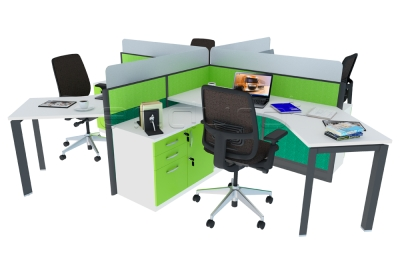 Cubicle 4 Staff Triangle Leg Jual System Office