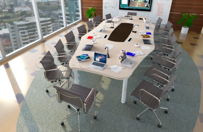 Octagon Shaped Meeting Table with Elasto Leg