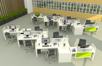 Plato Zig-Zag Desking with Hanging Partition