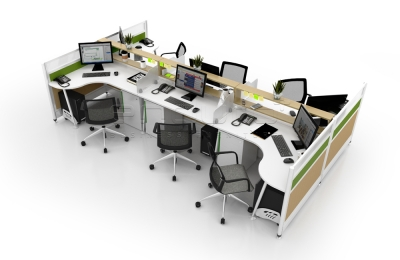Plato Casual Workstation with Half Glass Partition